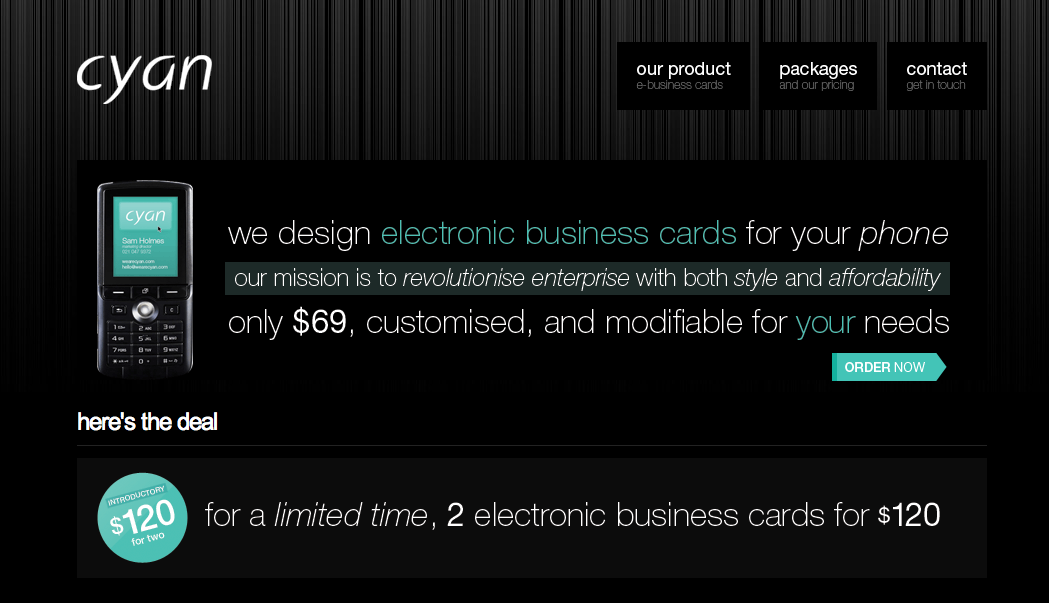 cyan electronic business cards for your mobile phone