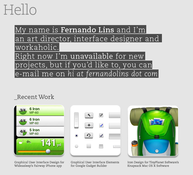 simple portfolio layout with thumbnails from fernando lins