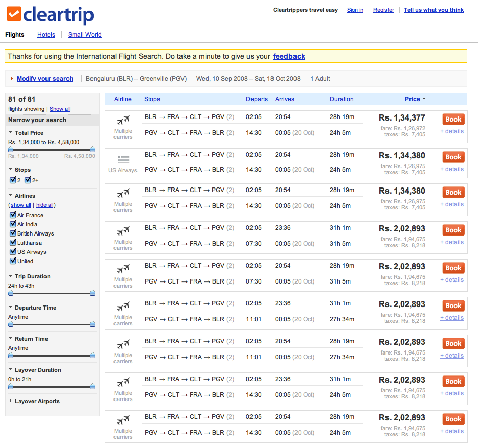 Cleartrip | International Air Search Results | PatternTap | ZURB ...