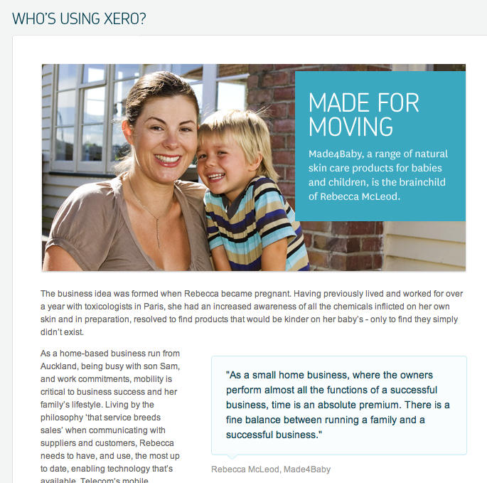 article and quote layout web design from xero com patterntap