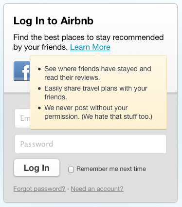 Login Tooltip from Airbnb | PatternTap | ZURB Library