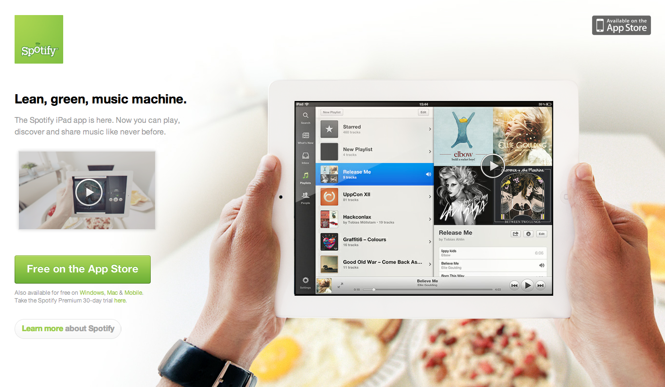 iPad Landing Page from Spotify | PatternTap | ZURB Library