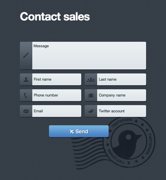 Contact Block Web Design with Nice Labels and Great Type