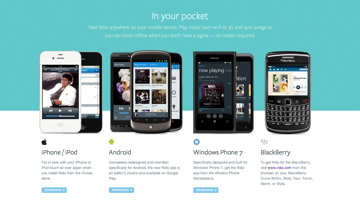 Supported Mobile Devices from Rdio | PatternTap | ZURB Library