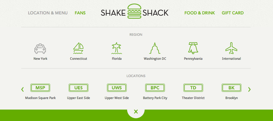 Shake Shack Logo header and navigation from shake shack | patterntap | zurb library