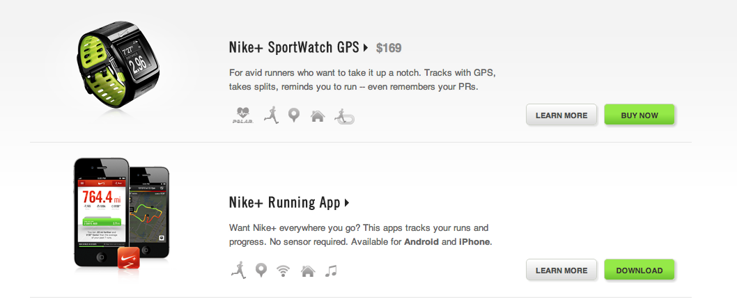 Product Listing from Nike+