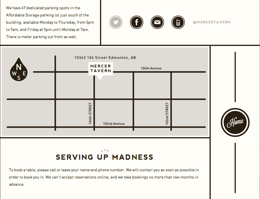 Contact Info from Mercer Tavern | PatternTap | ZURB Library