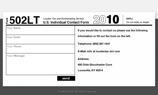 Clever Contact Form with Strong Concept from Louden Tax