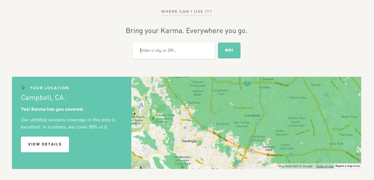 Coverage Map From Karma PatternTap ZURB Library - Go phone coverage map