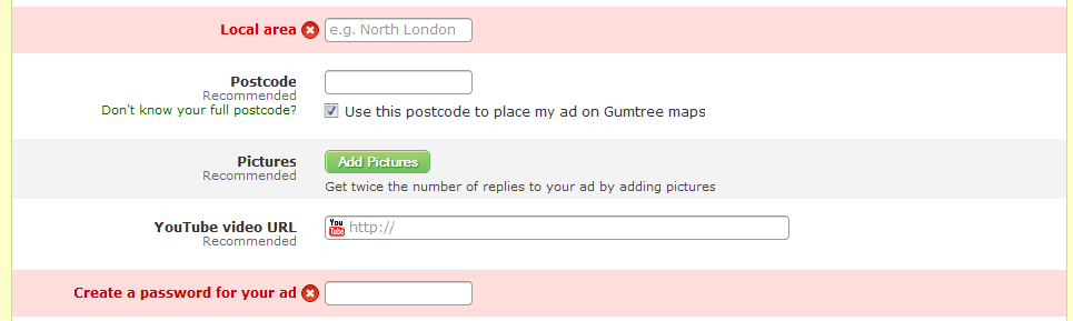 Form Submission with Large Error Handling Notifications from Gumtree