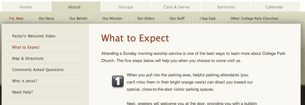 College Park Church > What to Expect   PatternTap   ZURB Library