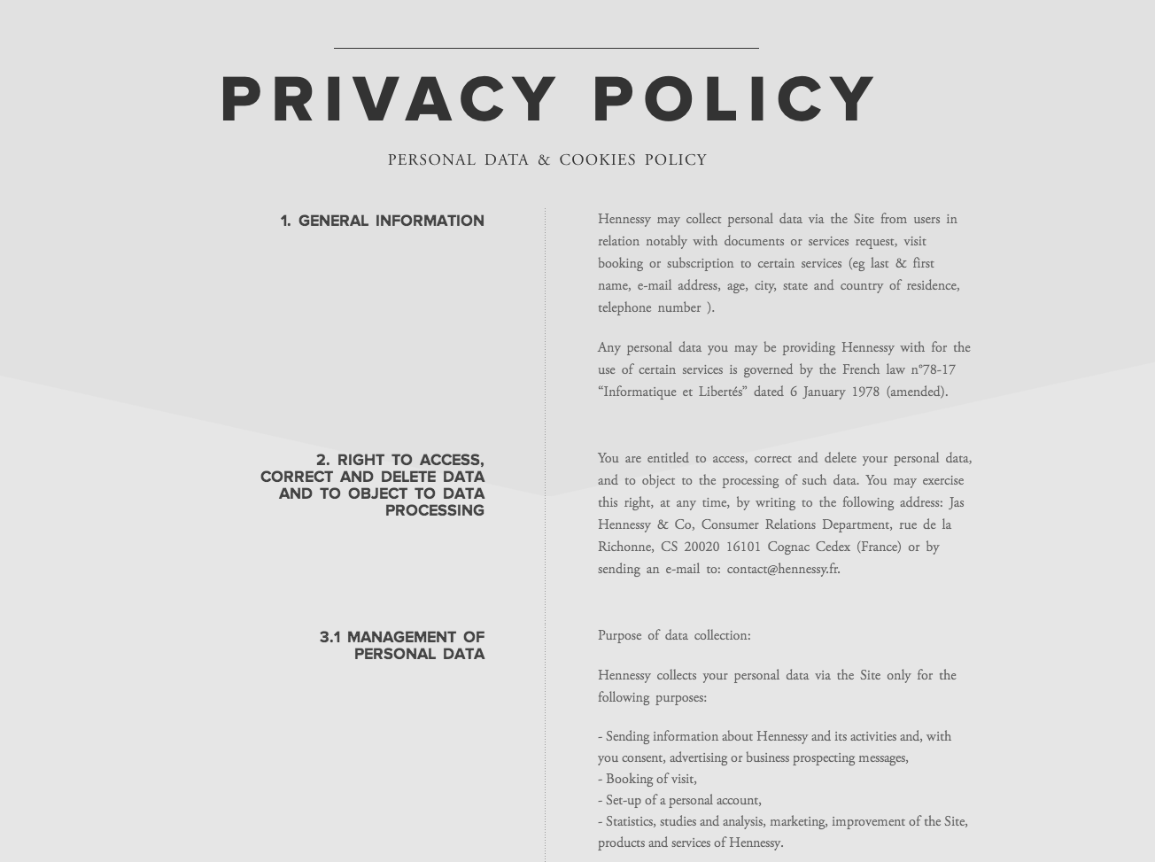 Privacy Policy Page From Hennessy