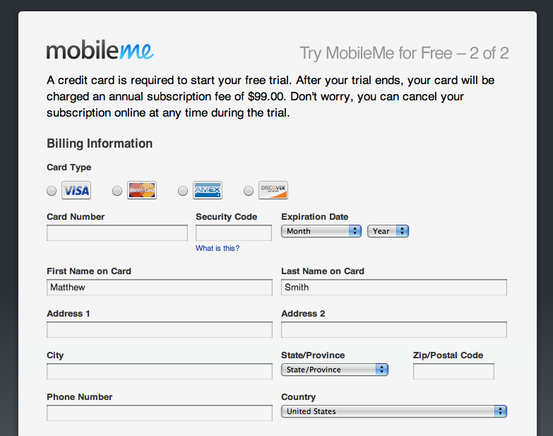 elegant ecommerce signup form from mobilme with nice credit card
